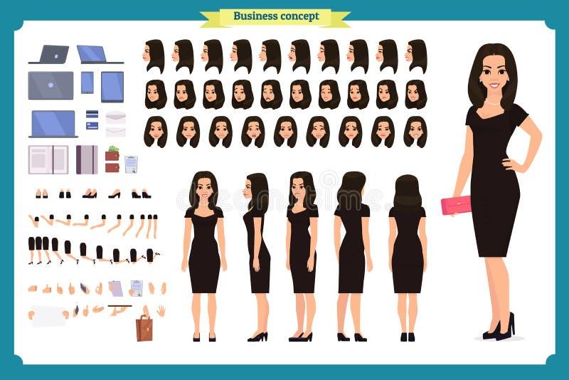Ragazza nell'insieme della creazione del carattere del vestito da sera Donna del partito in abito di lusso d'avanguardia nero Iso illustrazione vettoriale