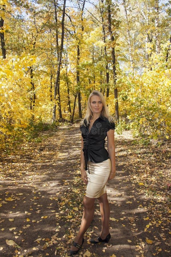 Ragazza nella foresta di autunno fotografia stock