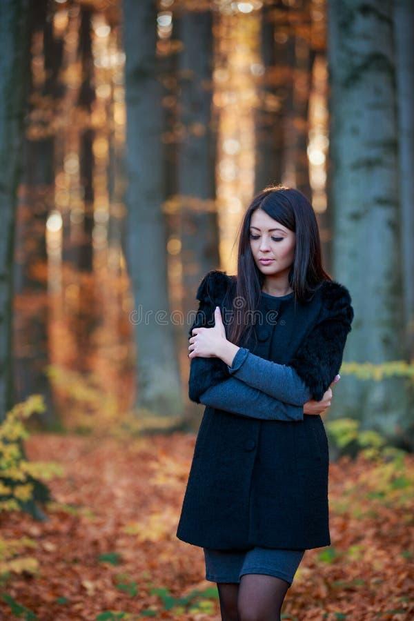 Ragazza nella foresta di autunno immagine stock libera da diritti
