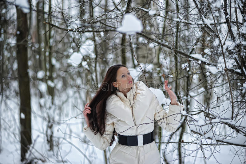 Ragazza nella scena della neve del terreno boscoso immagine stock