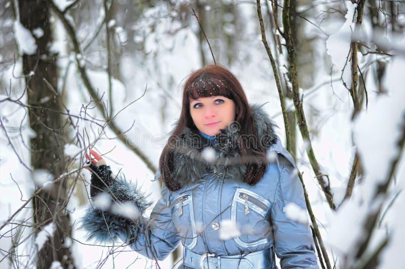 Ragazza nella scena della neve del terreno boscoso immagini stock libere da diritti