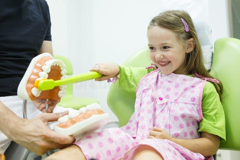 Ragazza nella sedia dei dentisti che toothbrushing un modello fotografia stock