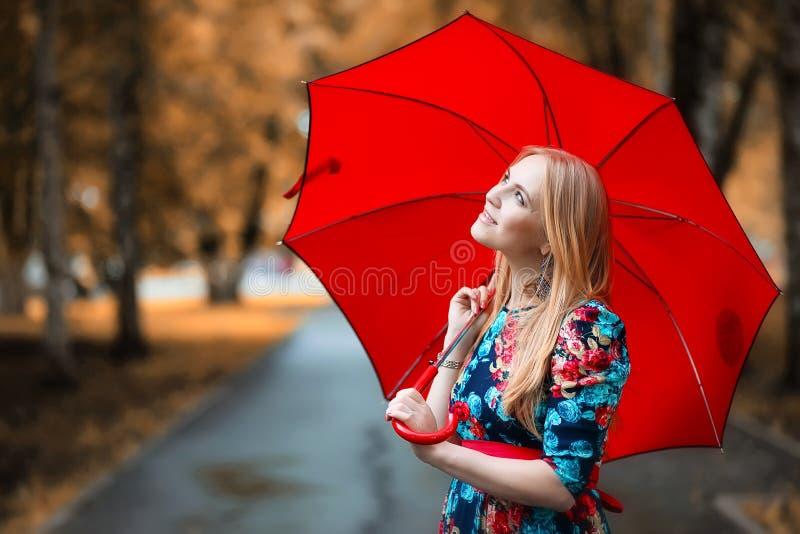 Ragazza nella via con un ombrello immagine stock libera da diritti