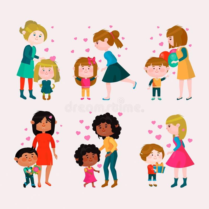 Ragazza o ragazzo adorabile amorosa del cuore della mamma di giorno di madri della famiglia di vettore di giorno di biglietti di  royalty illustrazione gratis
