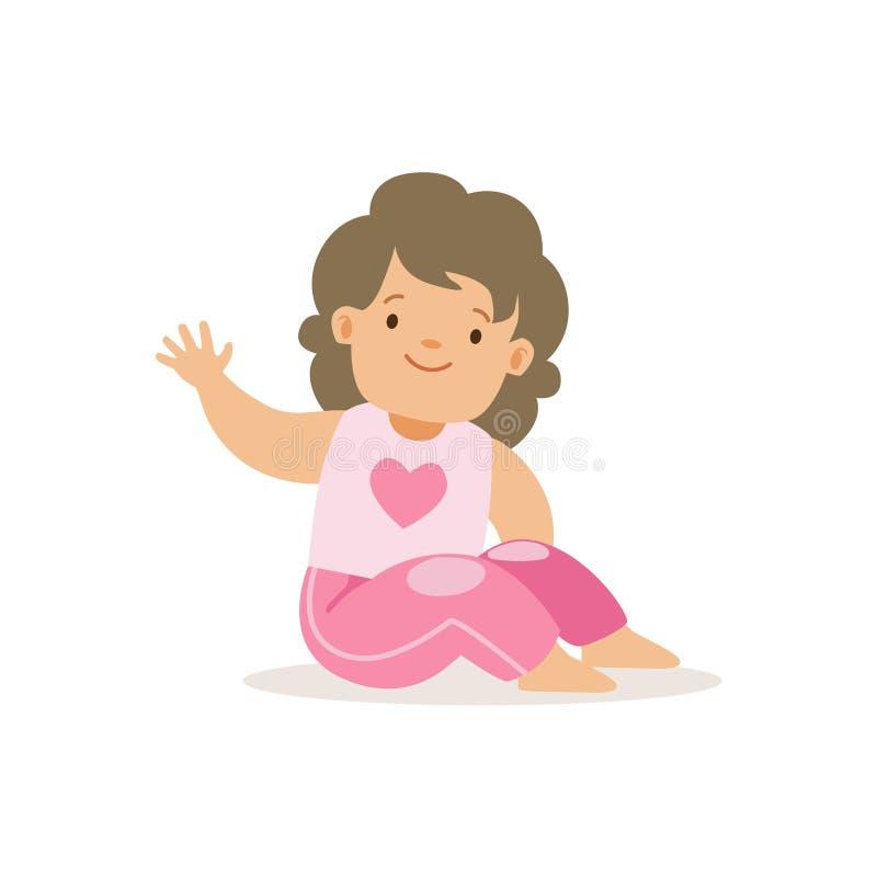 Ragazza in pantaloni rosa che ondeggiano, il personaggio dei cartoni animati sorridente adorabile del bambino ogni situazione di  illustrazione vettoriale