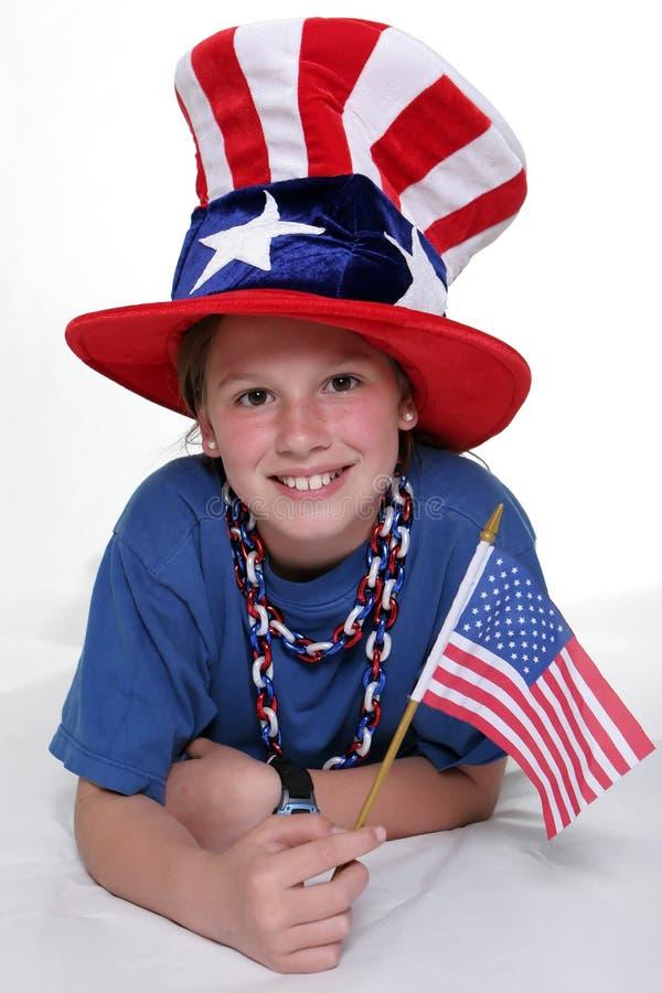 Ragazza patriottica con la giovane ragazza patriottica nella stenditura del Positio immagini stock libere da diritti