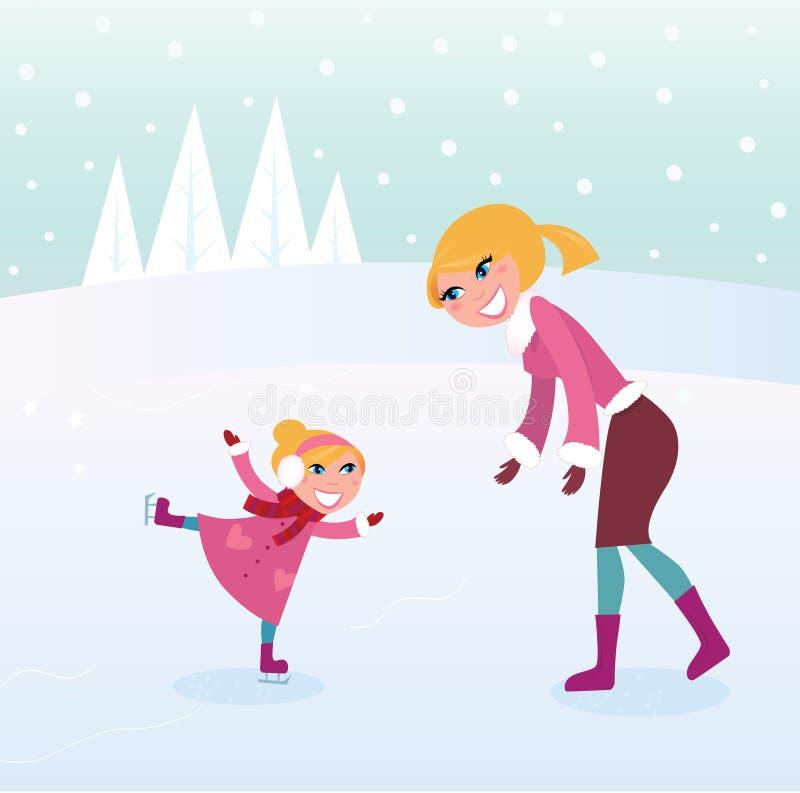 Ragazza pattinare di ghiaccio con la sua madre sullo stadio di sport royalty illustrazione gratis