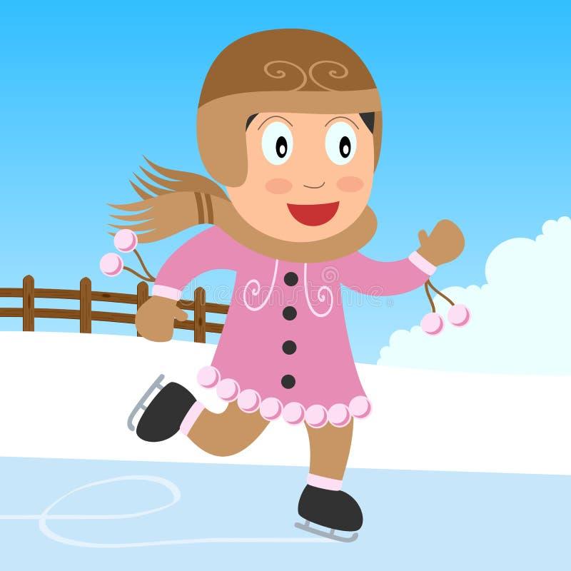 Ragazza pattinare di ghiaccio nella sosta illustrazione di stock