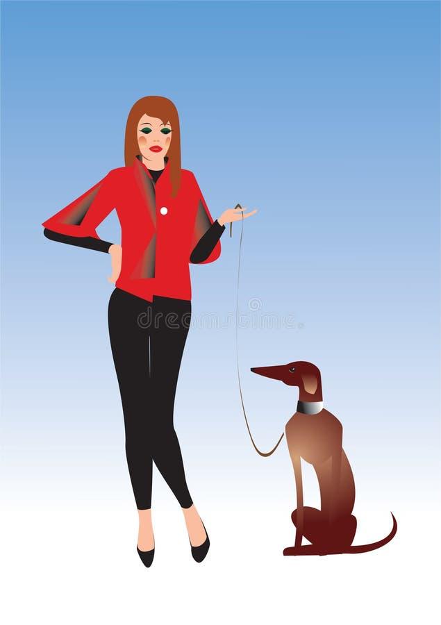 Ragazza piacevole con il cane royalty illustrazione gratis