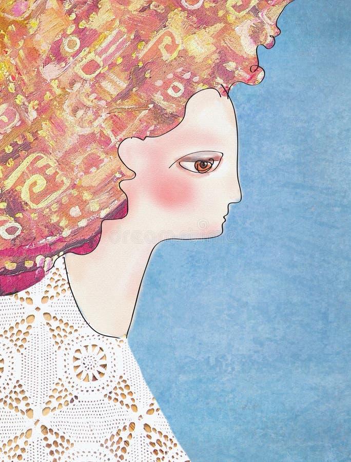 Ragazza piacevole di sensualità in vestito a foglie rampanti bianco dal pizzo con capelli rossi illustrazione vettoriale