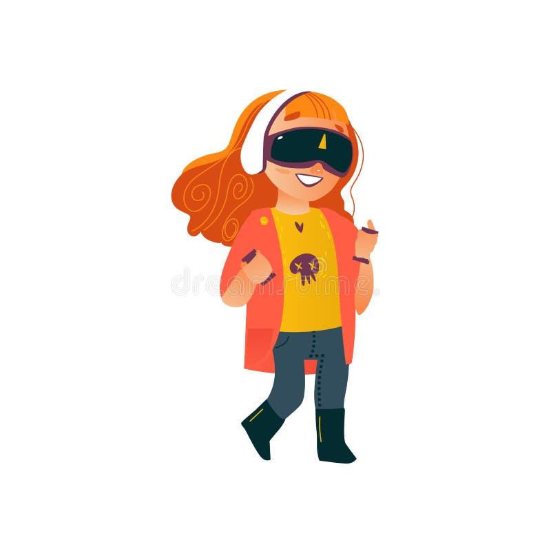 Ragazza piana di vettore che usando i vetri di realtà virtuale illustrazione di stock