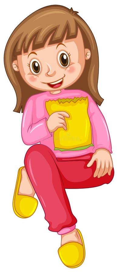 Ragazza in pigiami rosa che mangia spuntino royalty illustrazione gratis