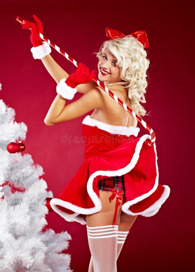 Ragazza Pin-in su che porta i vestiti del Babbo Natale fotografia stock