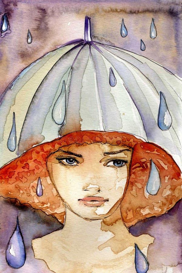 Ragazza piovosa illustrazione di stock