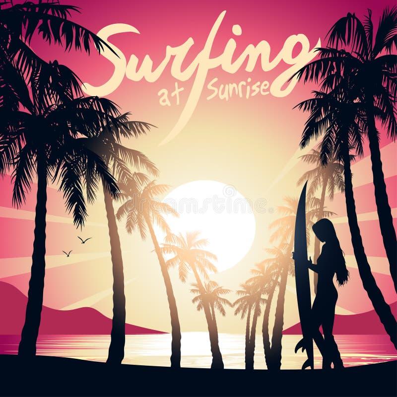 Ragazza praticante il surfing ad alba con un bordo di spuma illustrazione vettoriale