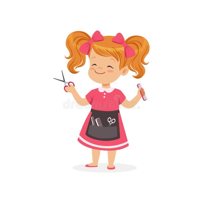 Ragazza prescolare del fumetto con gli strumenti del barbiere e del grembiule in mani Gioco di ruolo dello stilista di capelli Co royalty illustrazione gratis