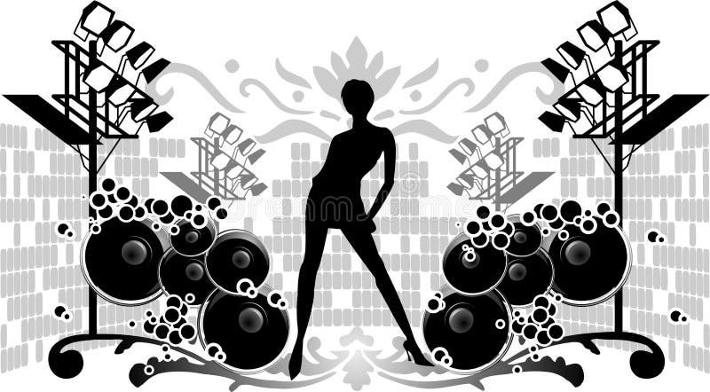 Ragazza, proiettori e suoni neri della siluetta illustrazione di stock