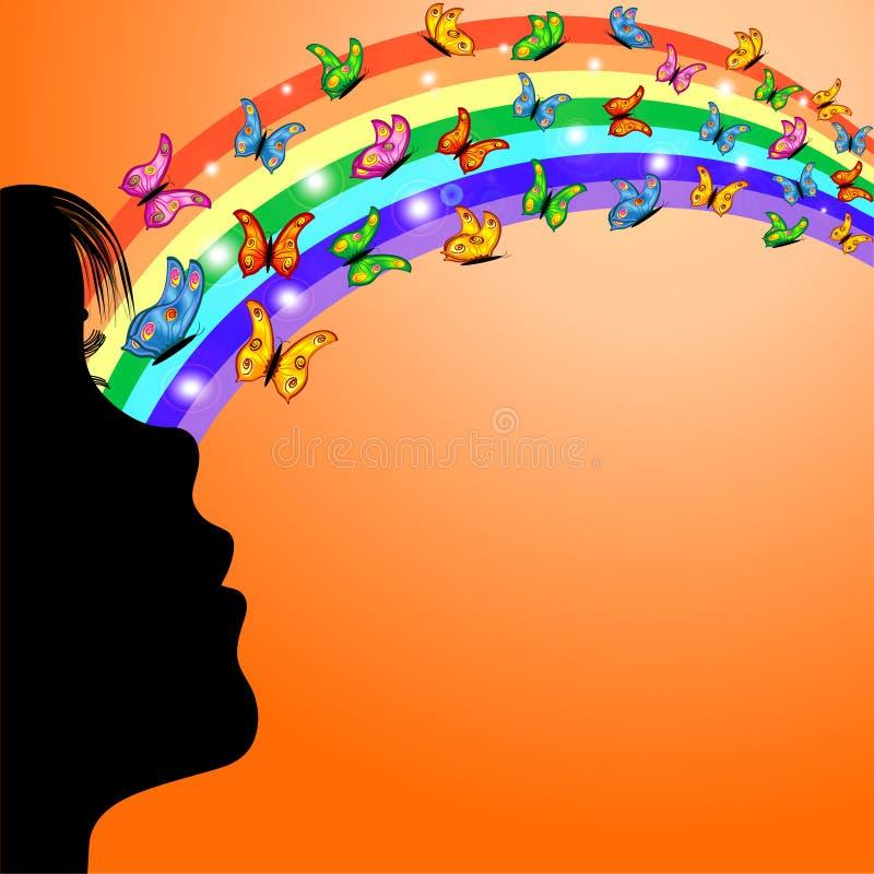 Ragazza, Rainbow e farfalle illustrazione di stock