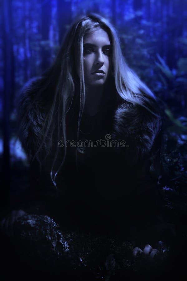 Ragazza scandinava nella foresta di notte fotografia stock