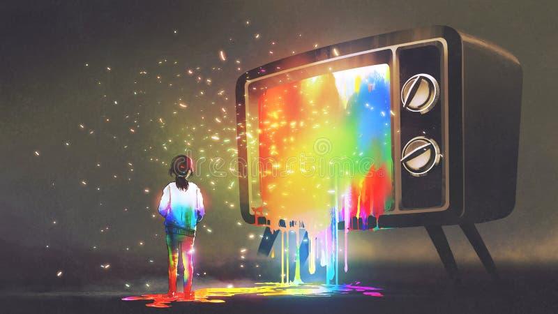 Ragazza scompigliata con luce variopinta dalla TV illustrazione di stock