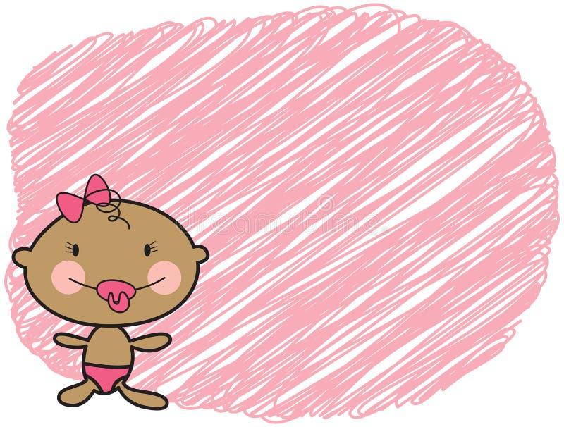 Ragazza scura della pelle del bambino del fumetto illustrazione di stock
