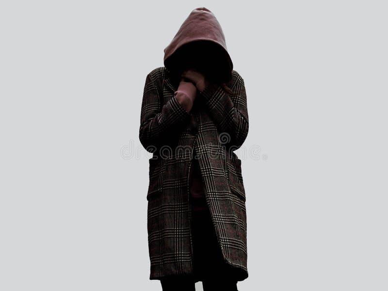 Ragazza senza ragazza del noface della persona del fronte nel cappuccio fotografie stock libere da diritti