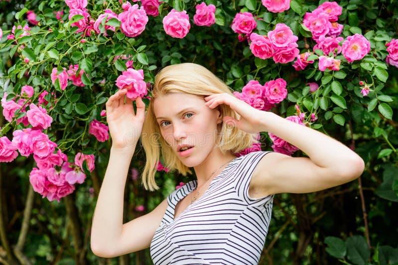 Ragazza sexy su fondo rosa rosa natura del parco della primavera e di estate odore rosa del fiore Parfume Bellezza naturale STAZI immagine stock libera da diritti