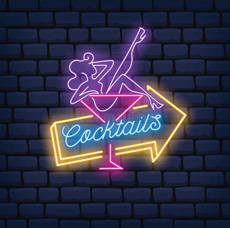 Ragazza sexy sul vetro di cocktail nell'illustrazione al neon di stile royalty illustrazione gratis