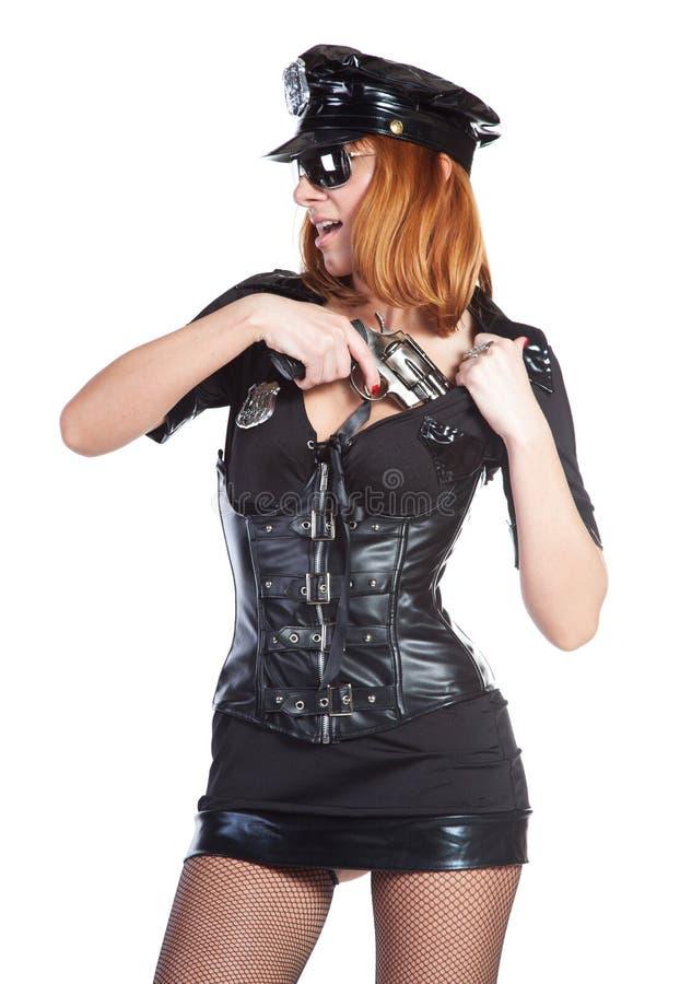Ragazza sexy in uniforme della polizia fotografia stock