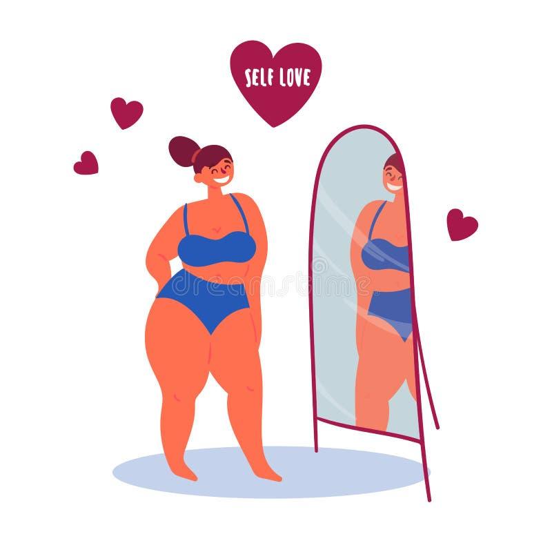Ragazza sicura di sé davanti allo specchio Amore di auto illustrazione vettoriale