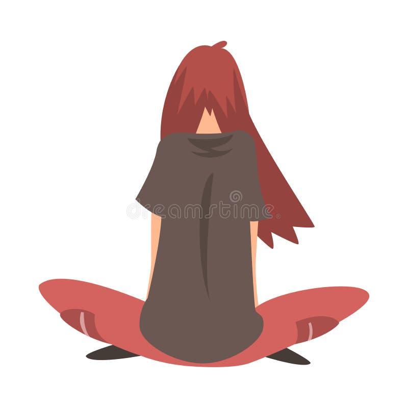 Ragazza sollecitata infelice che si siede sul pavimento, adolescente depresso che ha problemi, illustrazione posteriore di vettor royalty illustrazione gratis