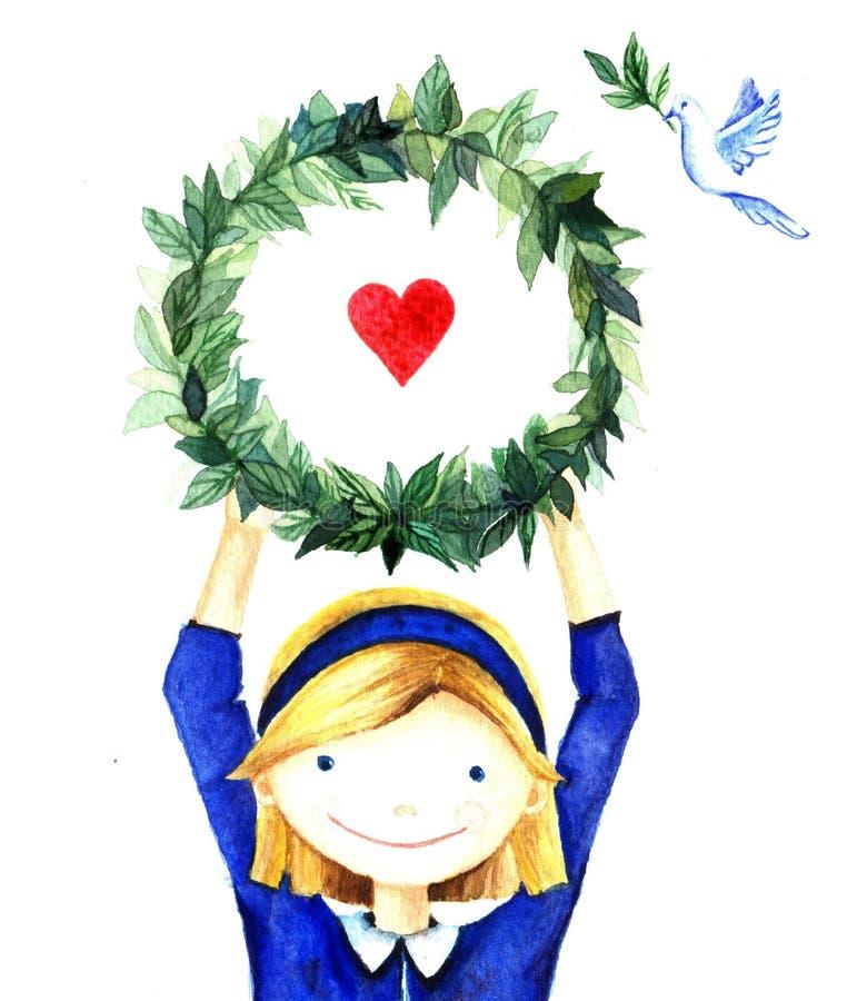 Ragazza sorridente abbastanza sveglia che tiene una struttura della corona del cerchio dei rami con cuore Carità disegnata a mano royalty illustrazione gratis