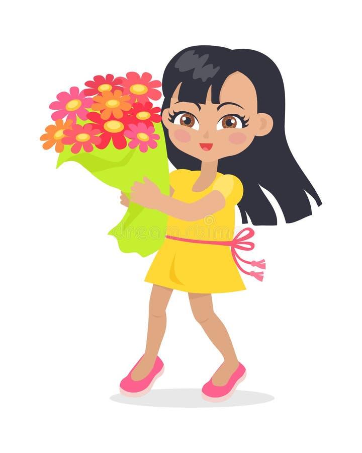 Ragazza sorridente con il mazzo Colourful dei fiori royalty illustrazione gratis