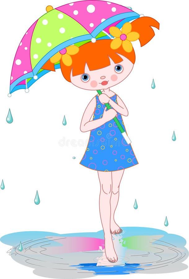 Ragazza sotto la pioggia di estate royalty illustrazione gratis