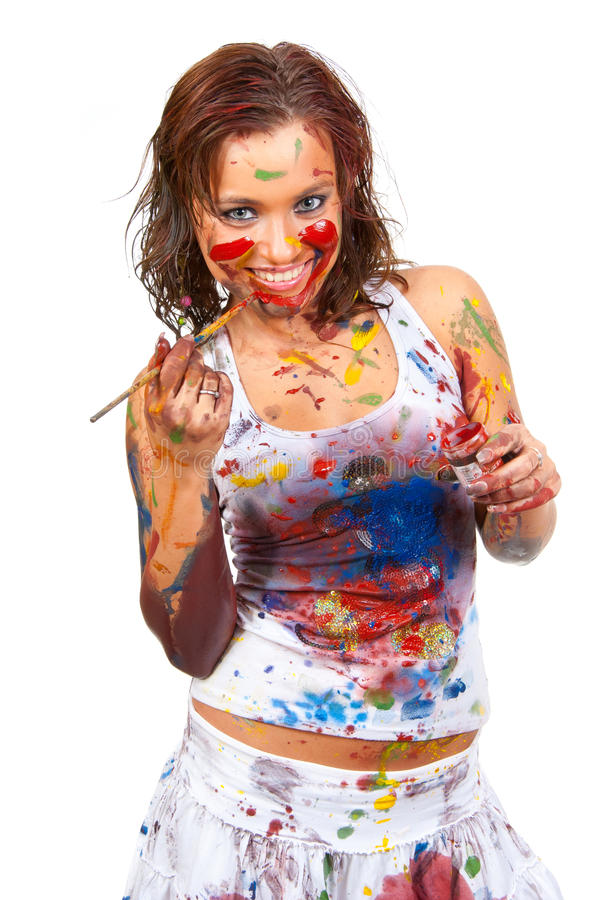 Ragazza spalmata in vernice immagine stock libera da diritti