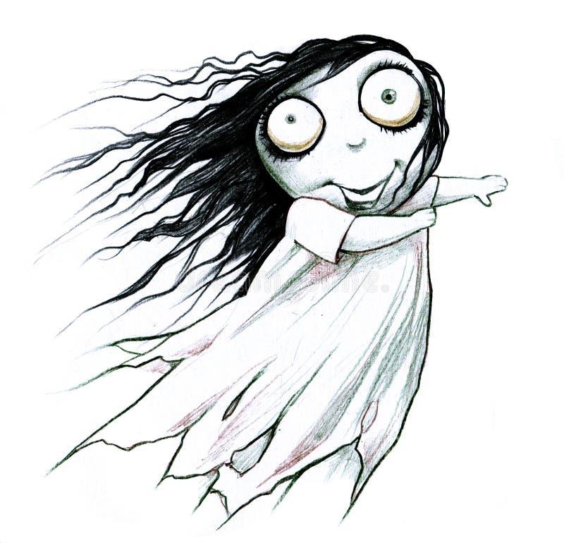 Ragazza spaventosa del fantasma di Halloween royalty illustrazione gratis