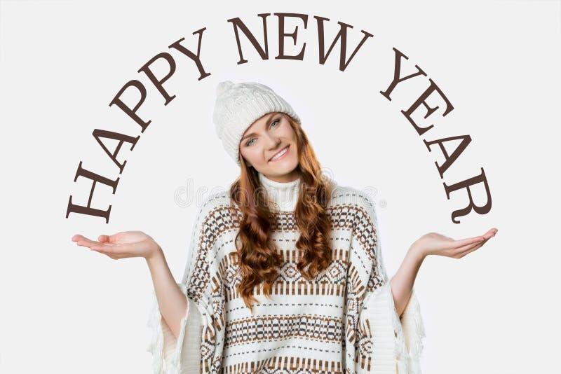 Ragazza splendida, concetto del buon anno su fondo bianco fotografie stock