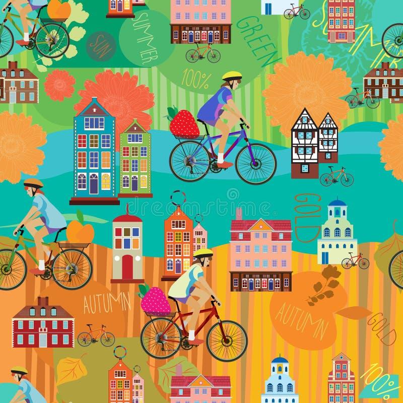 Ragazza su una bicicletta Estate Autunno Vector il reticolo senza giunte illustrazione vettoriale