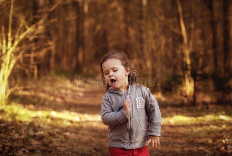 Ragazza su una passeggiata nella foresta fotografia stock