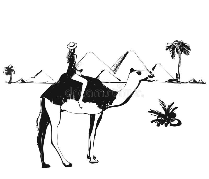 Ragazza sul cammello Illustrazioni di schizzo piramidi Disegnato a mano illustrazione di stock