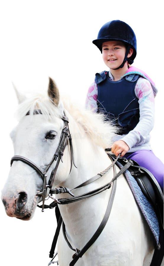 Ragazza sul cavallo bianco, priorità bassa bianca immagine stock libera da diritti