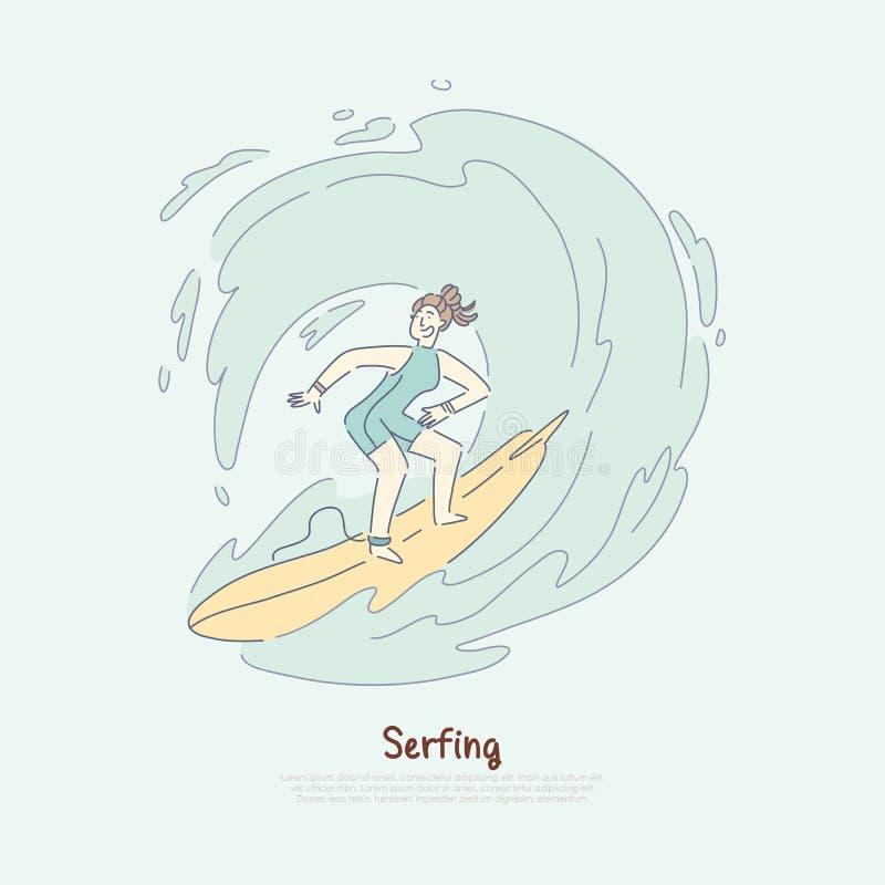 Ragazza sull'onda di guida del surf, surfista femminile che gode dello sport attivo, fan praticante il surfing divertendosi inseg illustrazione vettoriale
