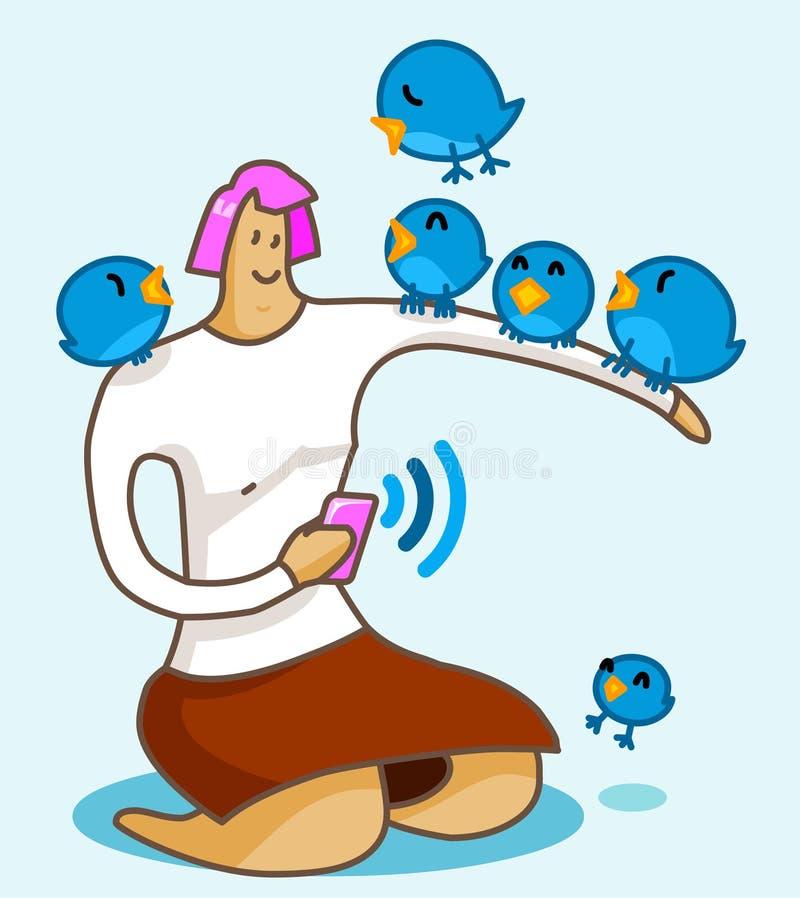 Ragazza sull uccello del Twitter