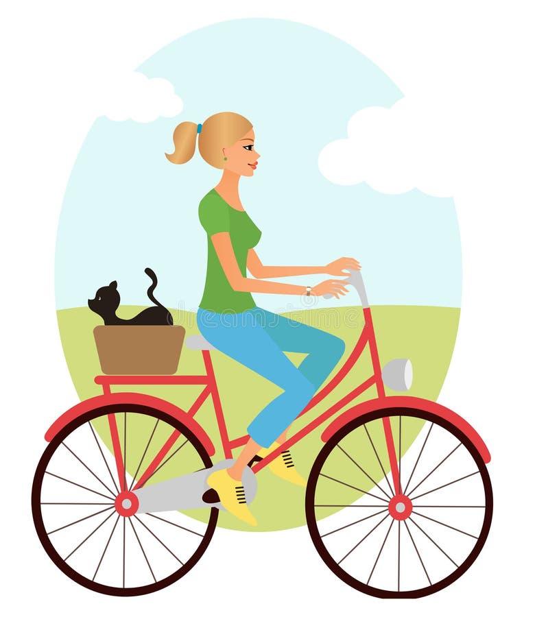 Ragazza sulla bici illustrazione vettoriale