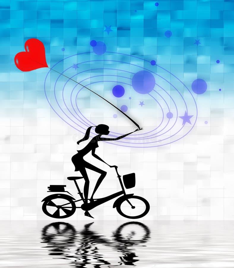 Ragazza sulla bici con l'aerostato   illustrazione di stock