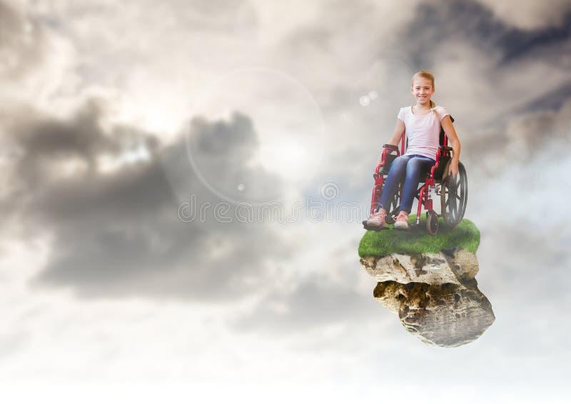 Ragazza sulla piattaforma di galleggiamento della roccia in cielo in sedia a rotelle illustrazione di stock