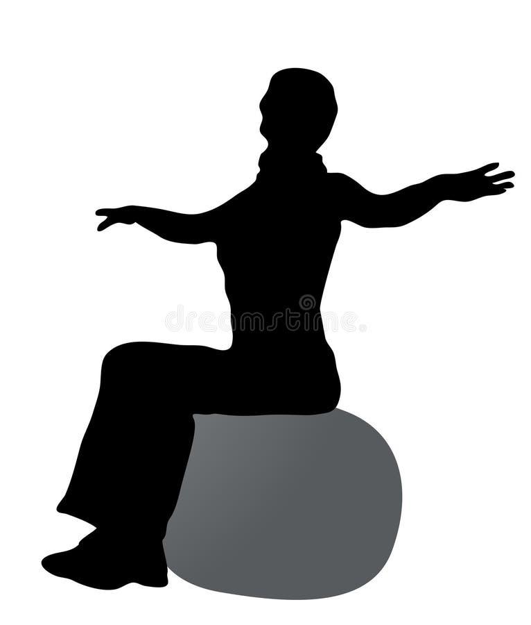 Ragazza sulla siluetta della sfera royalty illustrazione gratis