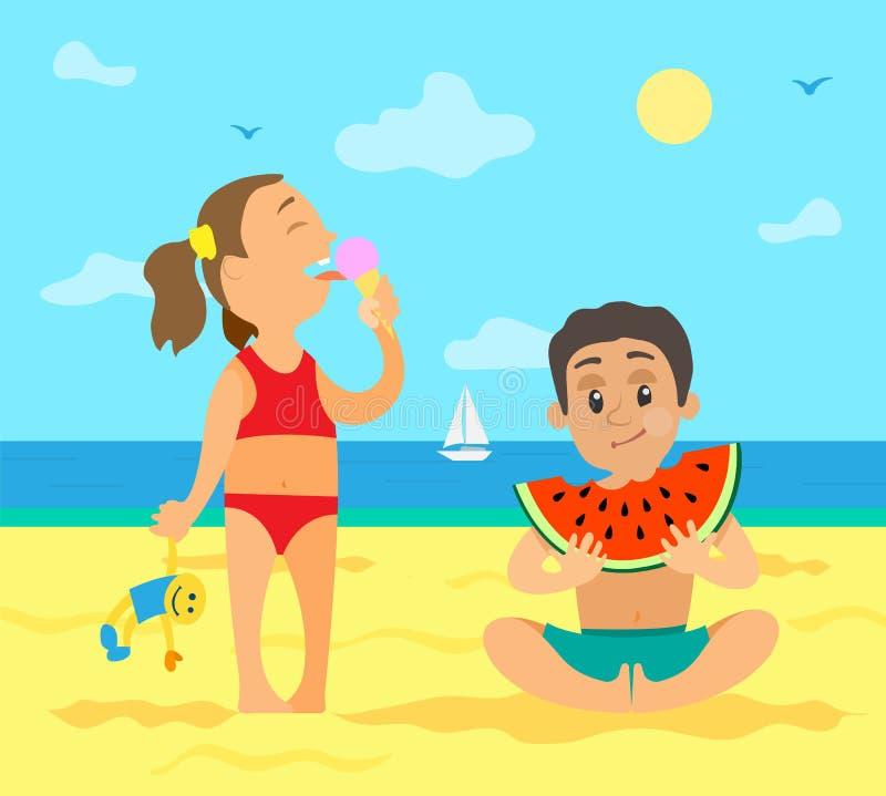 Ragazza sulla spiaggia che mangia il gelato ed il ragazzo con frutta royalty illustrazione gratis