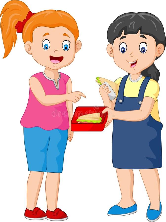 Ragazza sveglia che divide panino con un amico illustrazione di stock