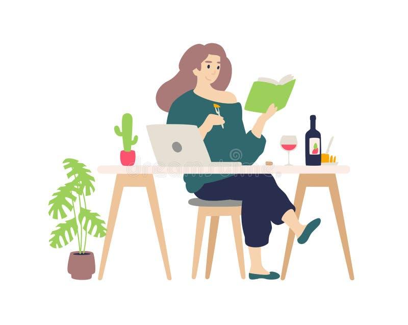 Ragazza sveglia che riposa al computer a casa Vettore Una giovane signora beve l'assaggio del formaggio e del vino Legge un libro illustrazione vettoriale